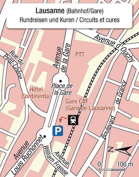 Karte Einsteigeort Lausanne Bahnhof _ plan Lausanne Gare