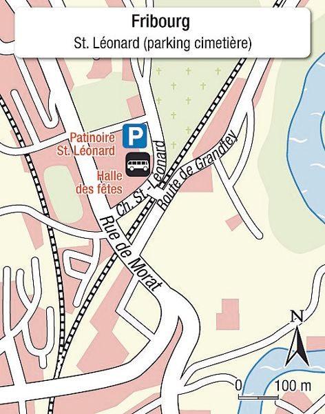 Karte Einsteigeort Freiburg _ lieu de départ Fribourg
