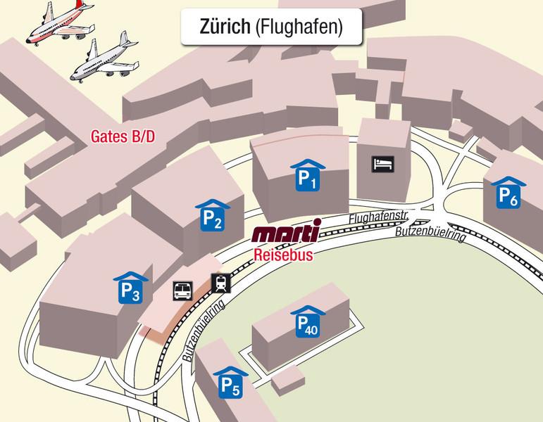 Karte Einsteigeort Zürich Flughafen
