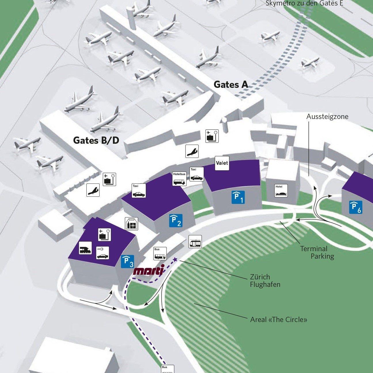 Plan Anfahrt Flughafen Zuerich 2015.indd
