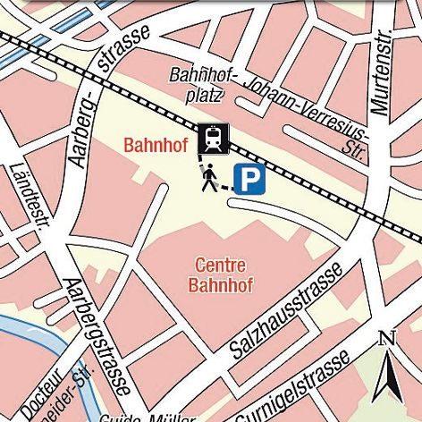 Karte Einsteigeort Biel, lieux de départ Bienne
