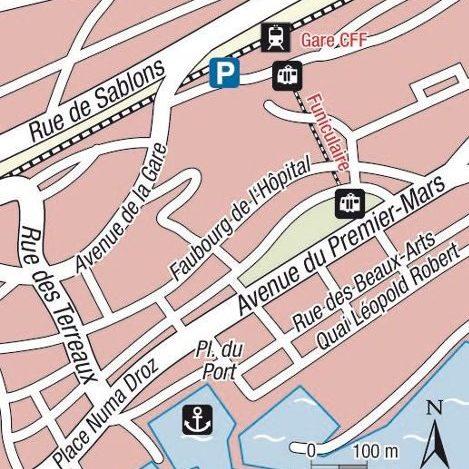 Plan lieu de départ Neuchâtel